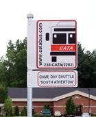 CATABUS bus stop sign and Gameday Shuttle stop sign